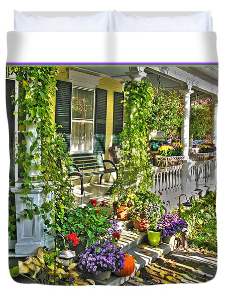 Front Porch In Fall Duvet Cover