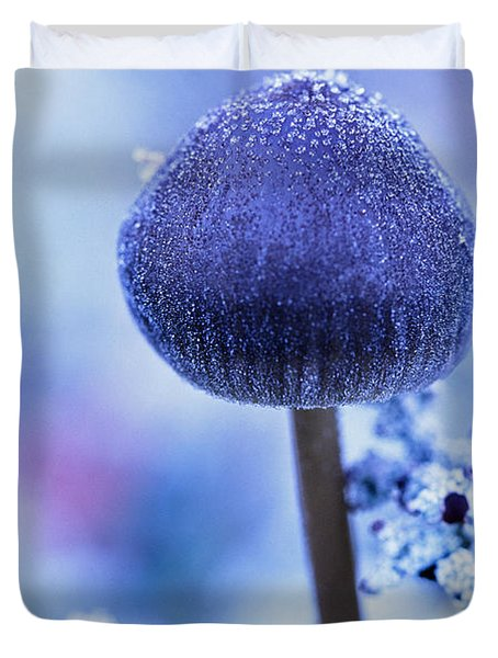Frost Covered Mushroom, North Canol Duvet Cover by Robert Postma