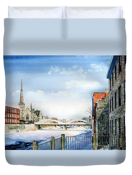 Frozen Shadows On The Grand Duvet Cover by Hanne Lore Koehler