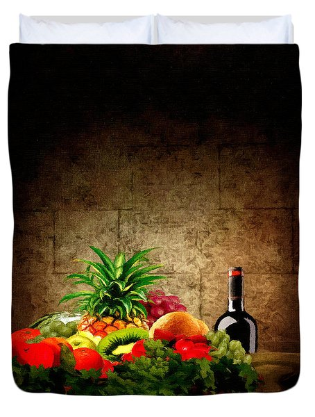 Fruit And Wine Duvet Cover by Lourry Legarde