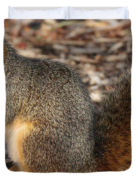 Duvet Cover featuring the photograph Fruity Squirel by Elizabeth Winter