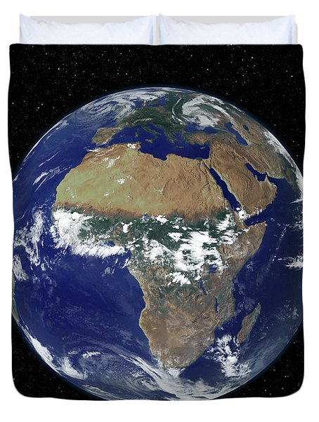 Full Earth Showing Africa And Europe Duvet Cover by Stocktrek Images