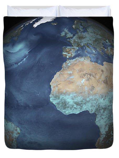 Full Earth Showing Evaporation Duvet Cover by Stocktrek Images