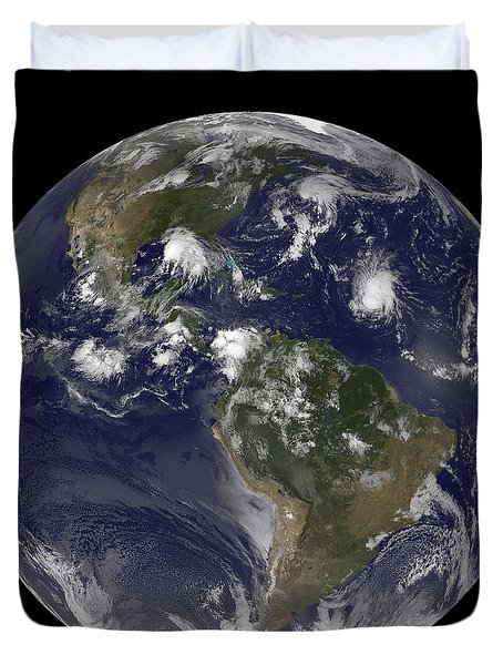 Full Earth Showing Tropical Storms Duvet Cover by Stocktrek Images