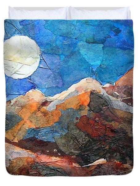 Full Moon Over The Sierras Duvet Cover by Li Newton