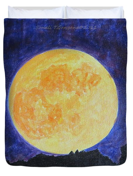 Duvet Cover featuring the painting Full Moon by Sonali Gangane