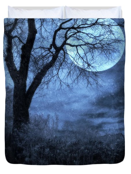 Full Moon Through Bare Trees Branches Duvet Cover by Jill Battaglia