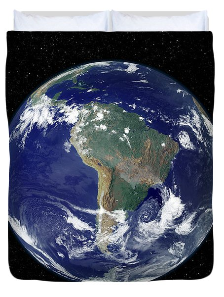 Fully Lit Earth Centered On South Duvet Cover by Stocktrek Images