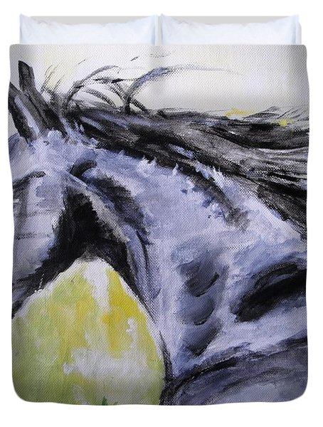 Duvet Cover featuring the painting Fury by Judy Kay