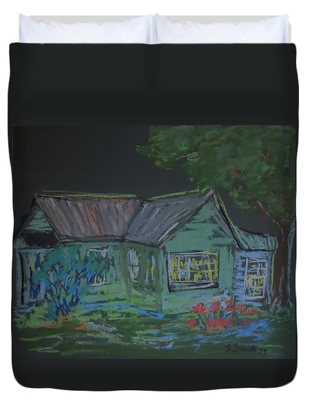 Duvet Cover featuring the painting Gabby's House by Francine Frank