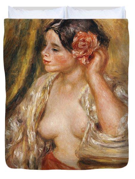 Gabrielle A Sa Coiffure Duvet Cover by Pierre Auguste Renoir