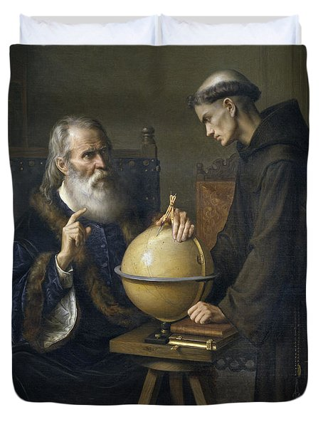 Galileo Galilei Demonstrating His New Astronomical Theories At The University Of Padua Duvet Cover by Felix Parra