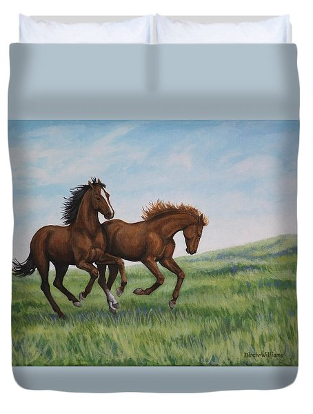 Galloping Horses Duvet Cover by Penny Birch-Williams