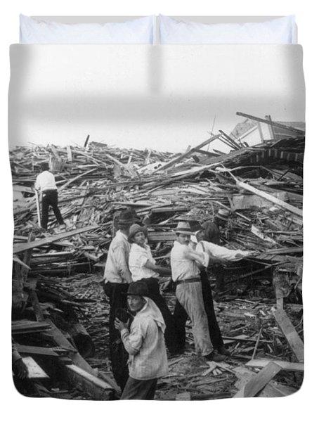 Galveston Disaster - C 1900 Duvet Cover by International  Images