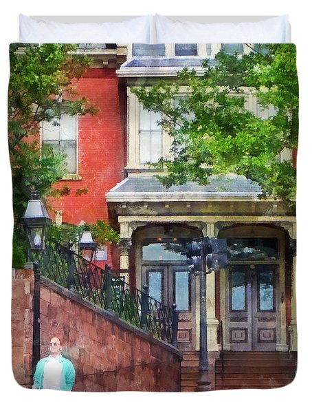 Gamaliel Dwight House Providence Ri Duvet Cover by Susan Savad