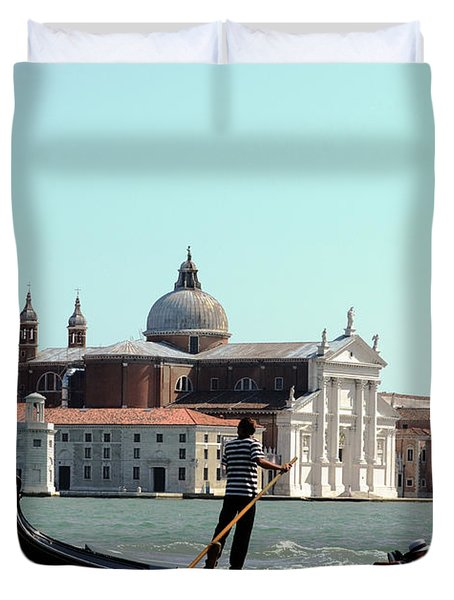 Gandola Rides In Venice Duvet Cover