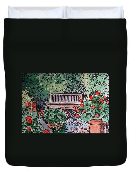 Garden Bench Sketchbook Project Down My Street Duvet Cover by Irina Sztukowski