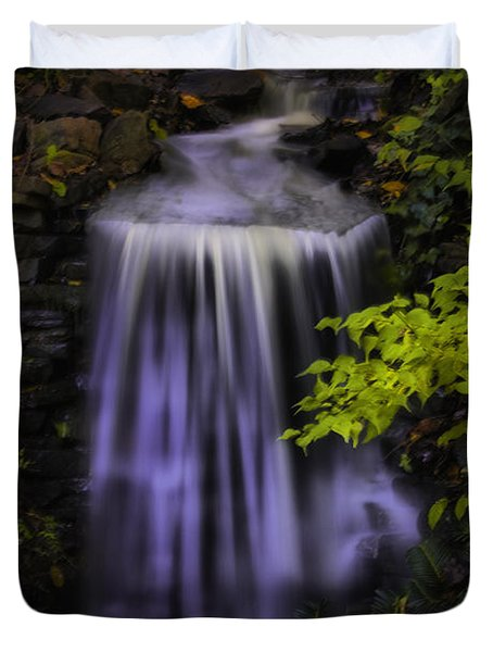 Duvet Cover featuring the photograph Garden Falls by Lynne Jenkins