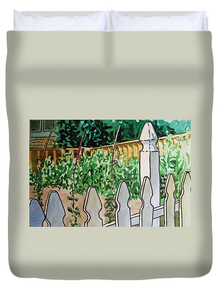 Garden Fence Sketchbook Project Down My Street Duvet Cover by Irina Sztukowski