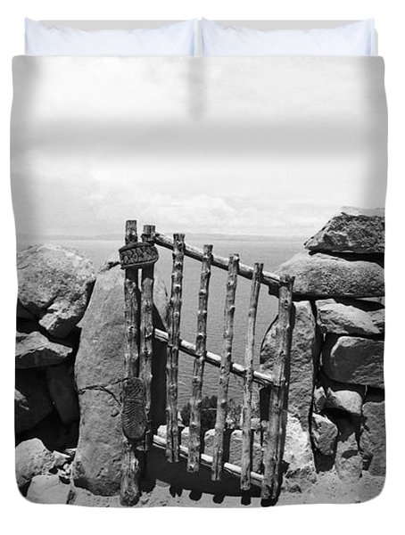 Gate Overlooking Lake Titicaca Duvet Cover by Darcy Michaelchuk