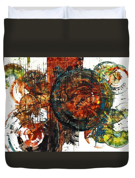 Duvet Cover featuring the painting Gaurdian  02.101511 by Kris Haas