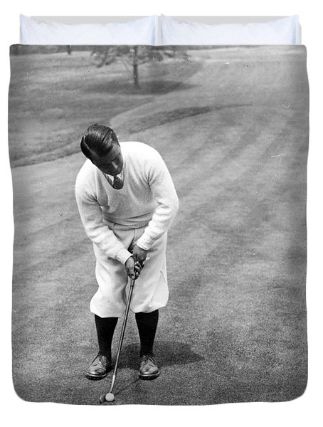 Duvet Cover featuring the photograph Gene Sarazen Playing Golf by International  Images