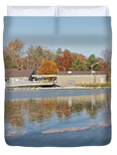 Duvet Cover featuring the photograph Genesee River Panorama by William Norton
