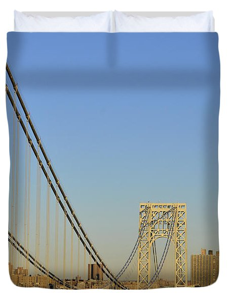 George Washington Bridge And Boat Duvet Cover by Zawhaus Photography