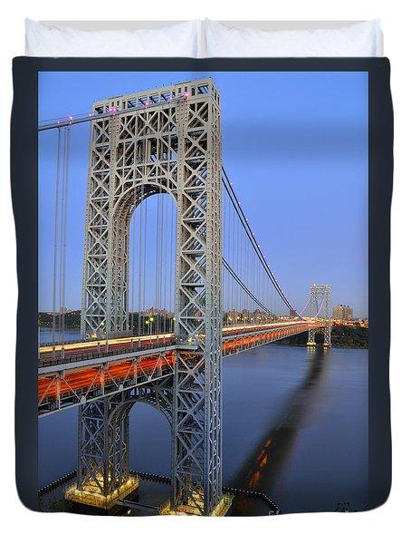 George Washington Bridge At Twilight Duvet Cover by Zawhaus Photography