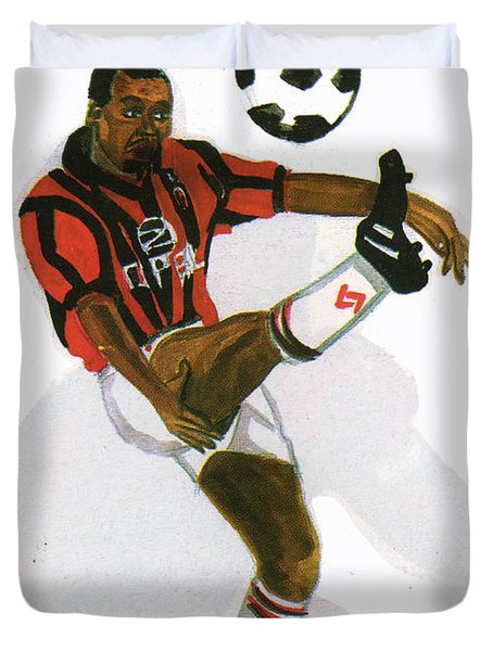 George Weah In Action Duvet Cover by Emmanuel Baliyanga