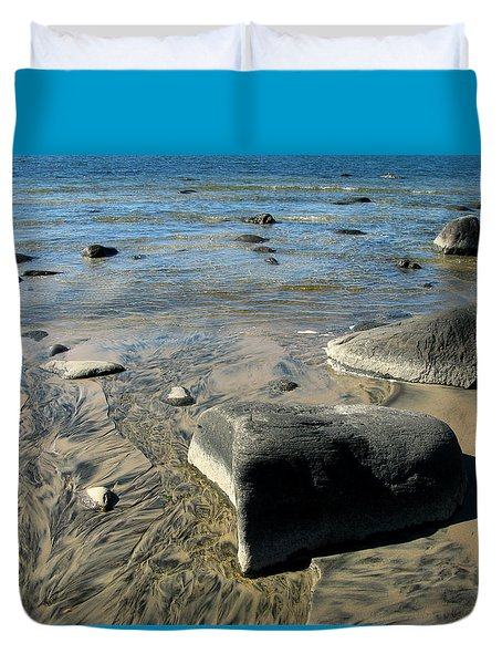 Georgian Bay Rocks Duvet Cover