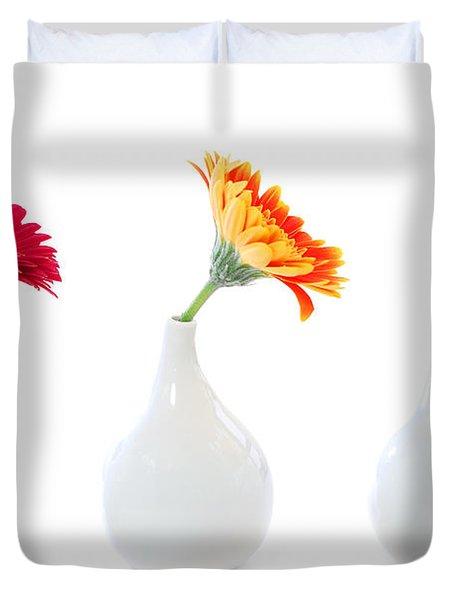 Gerbera Flowers In Vases Duvet Cover
