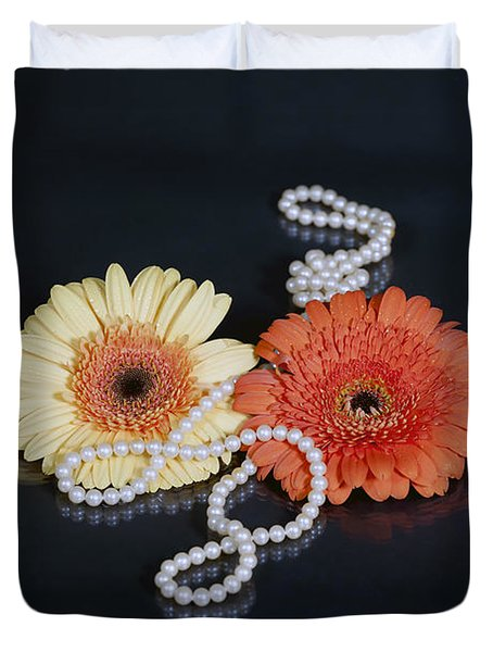 Gerberas With Pearls Duvet Cover by Joana Kruse