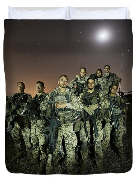 German Army Crew Poses Duvet Cover by Terry Moore