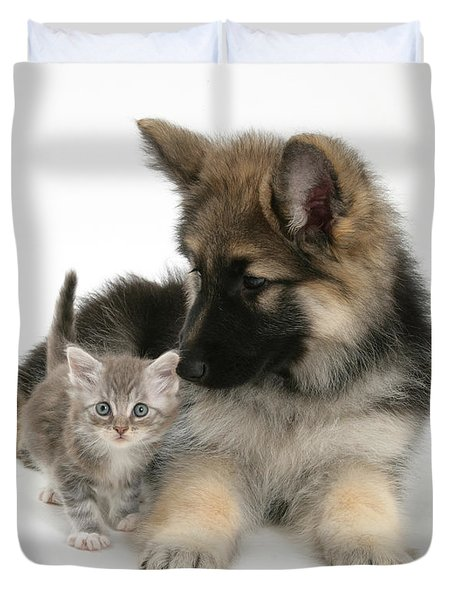 German Shepherd Dog Pup With A Tabby Duvet Cover by Mark Taylor