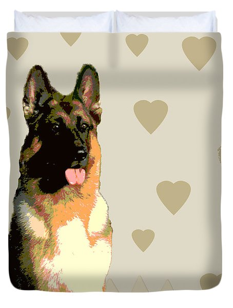 German Shepherd Duvet Cover by One Rude Dawg Orcutt