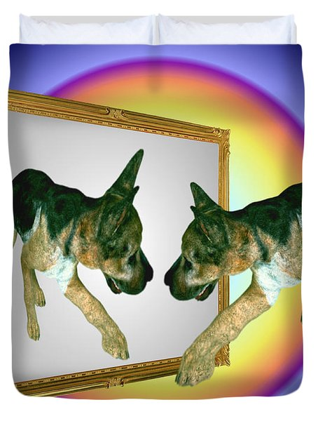 German Shepherd Puppy In Mirror Duvet Cover