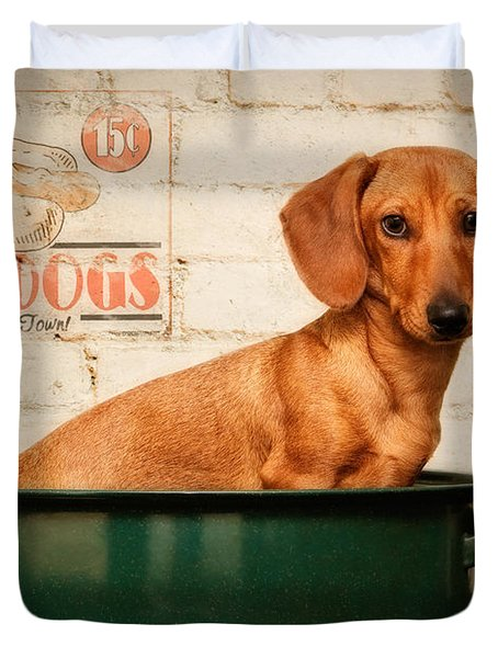 Get Your Hot Dogs Duvet Cover by Susan Candelario