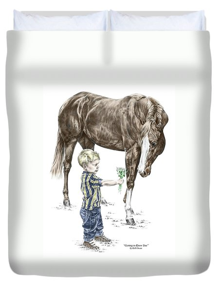 Getting To Know You - Boy And Horse Print Color Tinted Duvet Cover by Kelli Swan