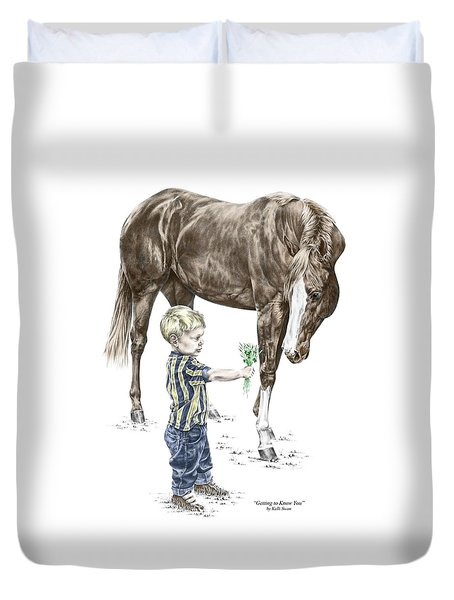 Getting To Know You - Boy And Horse Print Color Tinted Duvet Cover