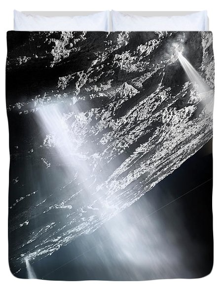 Geysers Of Enceladus Showing Duvet Cover by Brian Christensen