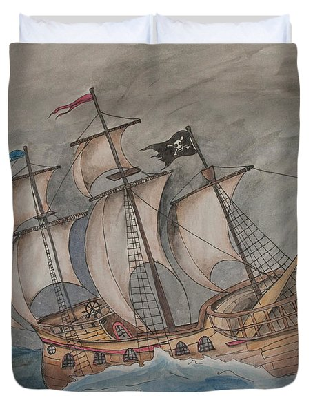 Ghost Pirate Ship Duvet Cover