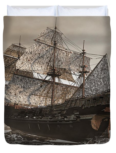 Ghost Ship Of The Cape Duvet Cover by Lourry Legarde