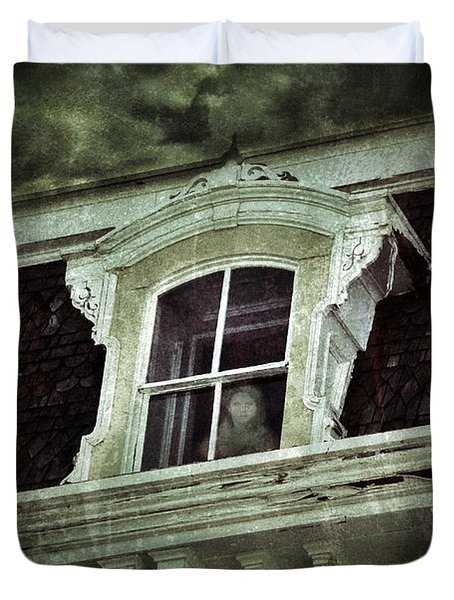 Ghostly Girl In Upstairs Window Duvet Cover by Jill Battaglia