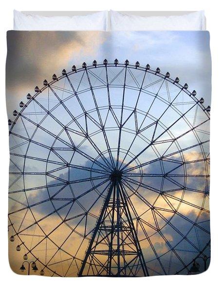 Giant Ferris Wheel At Sunset Duvet Cover by Paul Van Scott
