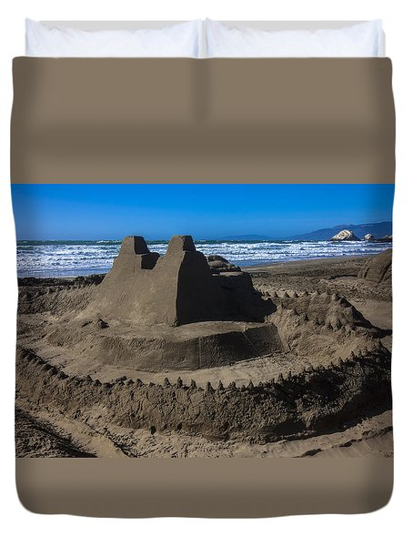 Giant Sand Castle Duvet Cover by Garry Gay