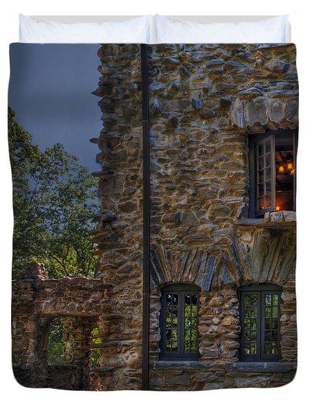 Gillette Castle Exterior Hdr Duvet Cover by Susan Candelario