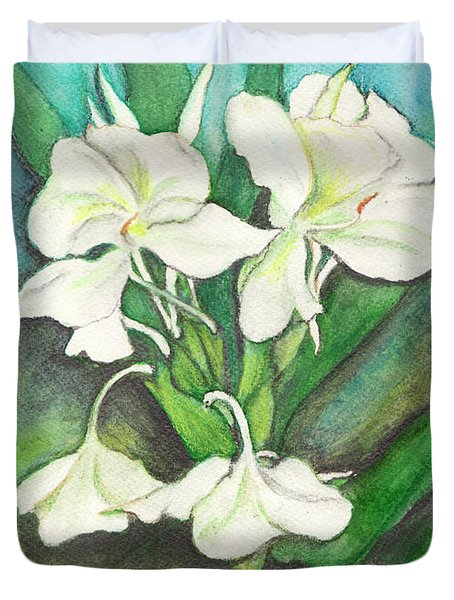 Duvet Cover featuring the painting Ginger Lilies by Carla Parris