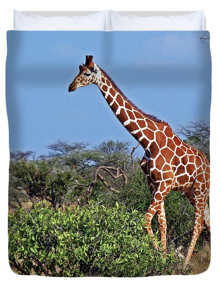 Giraffe Against Blue Sky Duvet Cover