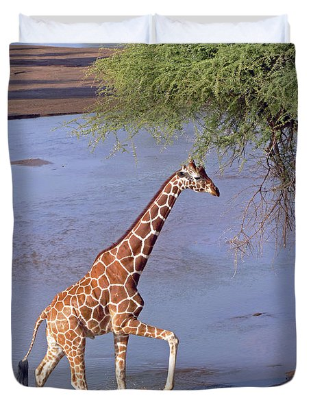 Giraffe Crossing Stream Duvet Cover